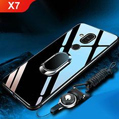 Nokia X7用ハイブリットバンパーケース プラスチック 鏡面 カバー アンド指輪 ノキア ブラック