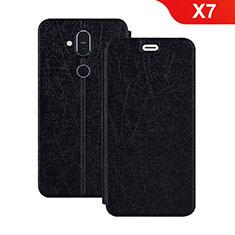 Nokia X7用手帳型 レザーケース スタンド L02 ノキア ブラック