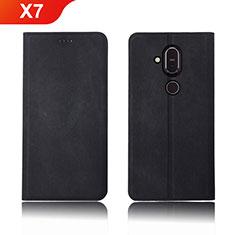 Nokia X7用手帳型 布 スタンド ノキア ブラック
