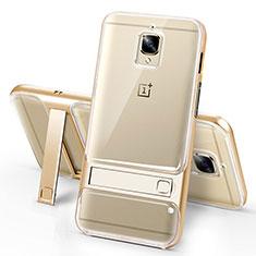 OnePlus 3用極薄ソフトケース シリコンケース 耐衝撃 全面保護 クリア透明 アンドスタンド OnePlus ゴールド