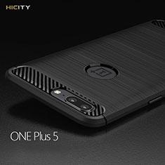 OnePlus 5用シリコンケース ソフトタッチラバー ツイル OnePlus ブラック