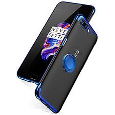 OnePlus 5用極薄ソフトケース シリコンケース 耐衝撃 全面保護 クリア透明 T05 OnePlus ネイビー
