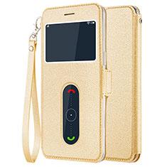 OnePlus 5用手帳型 レザーケース スタンド OnePlus ゴールド