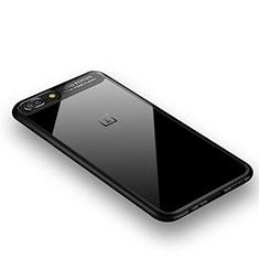 OnePlus 5用360度 フルカバーハイブリットバンパーケース クリア透明 プラスチック 鏡面 OnePlus ブラック