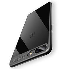 OnePlus 5用360度 フルカバーハイブリットバンパーケース クリア透明 プラスチック 鏡面 T02 OnePlus ブラック