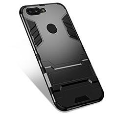OnePlus 5T A5010用ハイブリットバンパーケース スタンド プラスチック 兼シリコーン カバー OnePlus ブラック