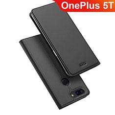 OnePlus 5T A5010用手帳型 レザーケース スタンド カバー OnePlus ブラック