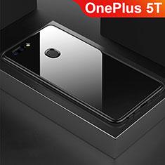 OnePlus 5T A5010用ハイブリットバンパーケース プラスチック 鏡面 カバー OnePlus ブラック