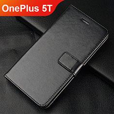 OnePlus 5T A5010用手帳型 レザーケース スタンド カバー L01 OnePlus ブラック