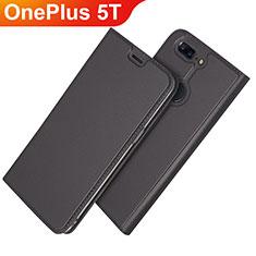 OnePlus 5T A5010用手帳型 レザーケース スタンド カバー L03 OnePlus ブラック