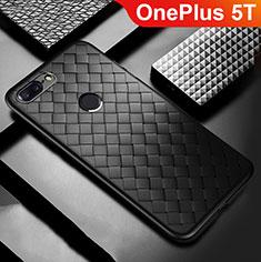 OnePlus 5T A5010用シリコンケース ソフトタッチラバー レザー柄 OnePlus ブラック