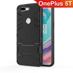 OnePlus 5T A5010用ハイブリットバンパーケース スタンド プラスチック 兼シリコーン カバー A01 OnePlus ブラック