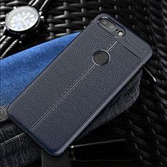 OnePlus 5T A5010用シリコンケース ソフトタッチラバー レザー柄 S01 OnePlus ネイビー