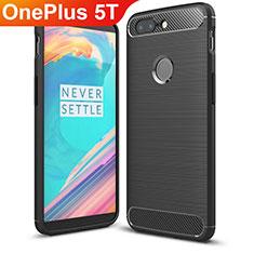OnePlus 5T A5010用シリコンケース ソフトタッチラバー ツイル カバー T01 OnePlus ブラック