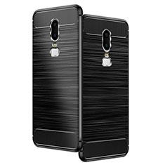 OnePlus 6用シリコンケース ソフトタッチラバー ツイル OnePlus ブラック