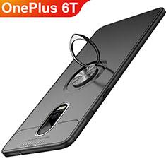 OnePlus 6T用極薄ソフトケース シリコンケース 耐衝撃 全面保護 アンド指輪 マグネット式 OnePlus ブラック