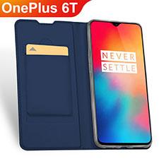 OnePlus 6T用手帳型 レザーケース スタンド カバー OnePlus ネイビー
