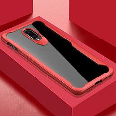 OnePlus 6T用ハイブリットバンパーケース クリア透明 プラスチック 鏡面 カバー OnePlus レッド