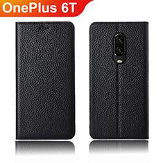 OnePlus 6T用手帳型 レザーケース スタンド カバー L01 OnePlus ブラック