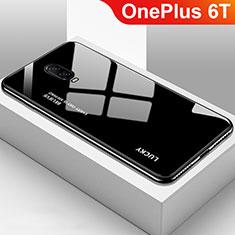 OnePlus 6T用ハイブリットバンパーケース プラスチック 鏡面 虹 グラデーション 勾配色 カバー OnePlus ブラック