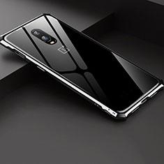OnePlus 6T用ケース 高級感 手触り良い アルミメタル 製の金属製 バンパー 鏡面 カバー OnePlus シルバー