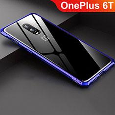 OnePlus 6T用ケース 高級感 手触り良い アルミメタル 製の金属製 バンパー 鏡面 カバー OnePlus ネイビー