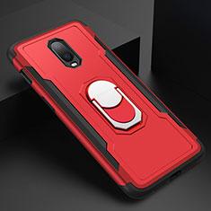 OnePlus 6T用ケース 高級感 手触り良い メタル兼プラスチック バンパー アンド指輪 A01 OnePlus レッド