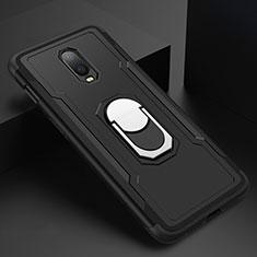 OnePlus 6T用ケース 高級感 手触り良い メタル兼プラスチック バンパー アンド指輪 A01 OnePlus ブラック