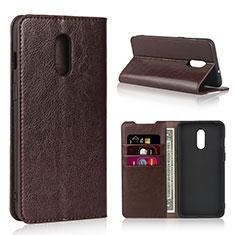 OnePlus 7用手帳型 レザーケース スタンド カバー L01 OnePlus ブラウン