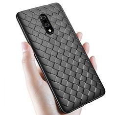 OnePlus 7用シリコンケース ソフトタッチラバー レザー柄 S01 OnePlus ブラック