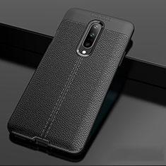 OnePlus 7 Pro用シリコンケース ソフトタッチラバー レザー柄 OnePlus ブラック