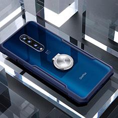 OnePlus 7 Pro用360度 フルカバーハイブリットバンパーケース クリア透明 プラスチック 鏡面 アンド指輪 マグネット式 OnePlus ネイビー