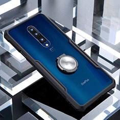 OnePlus 7 Pro用360度 フルカバーハイブリットバンパーケース クリア透明 プラスチック 鏡面 アンド指輪 マグネット式 OnePlus ブラック