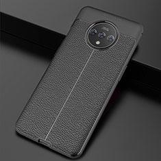 OnePlus 7T用シリコンケース ソフトタッチラバー レザー柄 カバー OnePlus ブラック