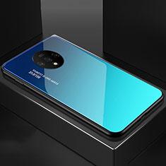 OnePlus 7T用ハイブリットバンパーケース プラスチック 鏡面 虹 グラデーション 勾配色 カバー OnePlus シアン