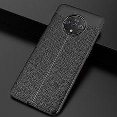 OnePlus 7T用シリコンケース ソフトタッチラバー レザー柄 カバー S01 OnePlus ブラック