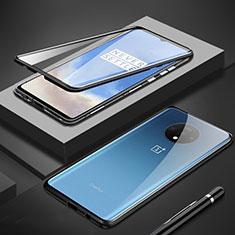 OnePlus 7T用ケース 高級感 手触り良い アルミメタル 製の金属製 360度 フルカバーバンパー 鏡面 カバー M01 OnePlus ブラック