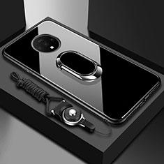 OnePlus 7T用ハイブリットバンパーケース プラスチック 鏡面 カバー アンド指輪 マグネット式 OnePlus ブラック