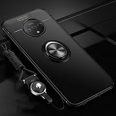 OnePlus 7T用極薄ソフトケース シリコンケース 耐衝撃 全面保護 アンド指輪 マグネット式 バンパー OnePlus ブラック