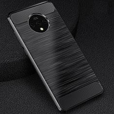 OnePlus 7T用シリコンケース ソフトタッチラバー ツイル カバー S01 OnePlus ブラック