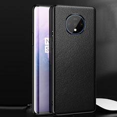 OnePlus 7T用ケース 高級感 手触り良いレザー柄 OnePlus ブラック
