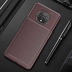OnePlus 7T用シリコンケース ソフトタッチラバー ツイル カバー S03 OnePlus ブラウン