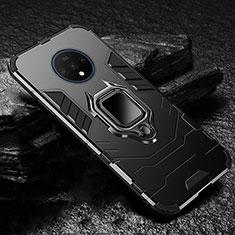 OnePlus 7T用ハイブリットバンパーケース スタンド プラスチック 兼シリコーン カバー マグネット式 OnePlus ブラック