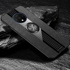 OnePlus 7T用極薄ソフトケース シリコンケース 耐衝撃 全面保護 アンド指輪 マグネット式 バンパー A03 OnePlus ブラック