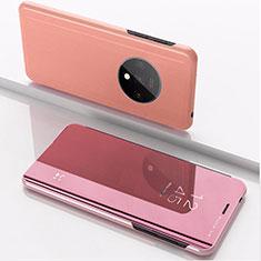 OnePlus 7T用手帳型 レザーケース スタンド 鏡面 カバー L02 OnePlus ローズゴールド