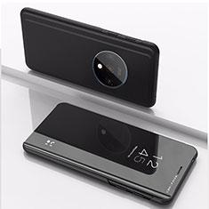 OnePlus 7T用手帳型 レザーケース スタンド 鏡面 カバー L02 OnePlus ブラック