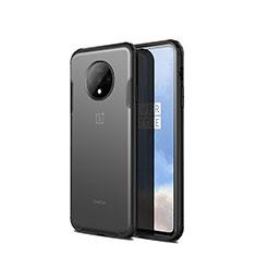 OnePlus 7T用ハイブリットバンパーケース クリア透明 プラスチック 鏡面 カバー H01 OnePlus ブラック
