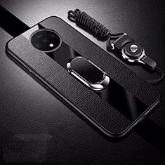 OnePlus 7T用シリコンケース ソフトタッチラバー レザー柄 アンド指輪 マグネット式 T02 OnePlus ブラック