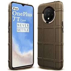 OnePlus 7T用360度 フルカバー極薄ソフトケース シリコンケース 耐衝撃 全面保護 バンパー C05 OnePlus ブラウン