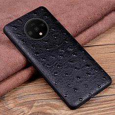 OnePlus 7T用ケース 高級感 手触り良いレザー柄 R04 OnePlus ブラック